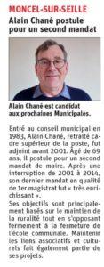 Alain Chané postule pour un second mandat