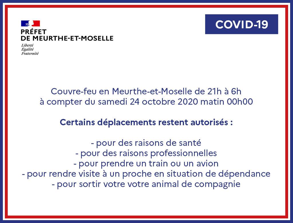 Couvre-feu en Meurthe-et-Moselle
