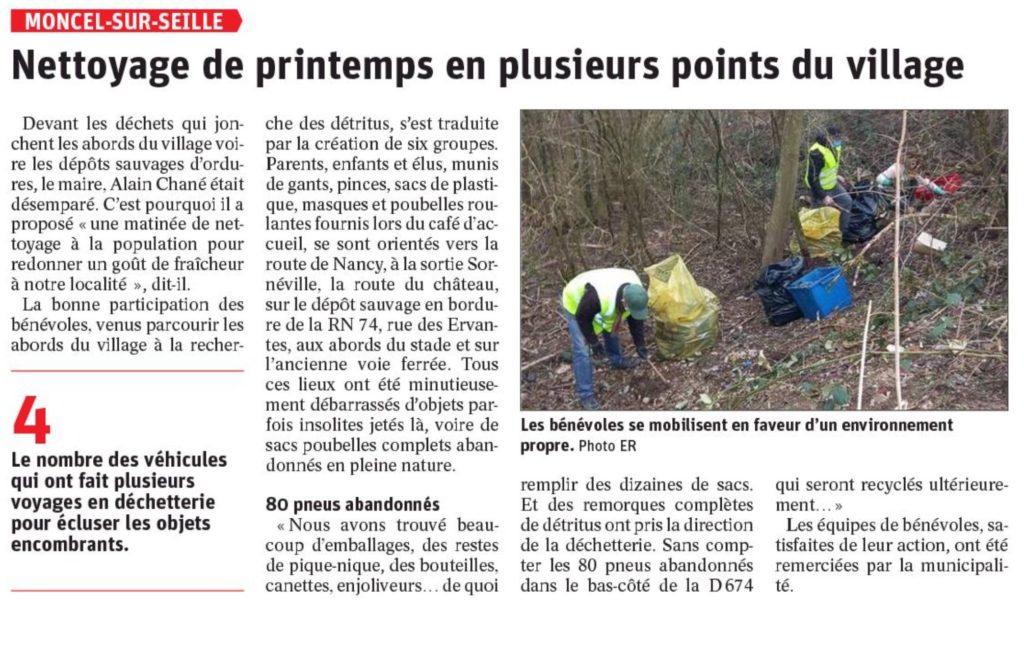 Nettoyage de printemps en plusieurs points du village