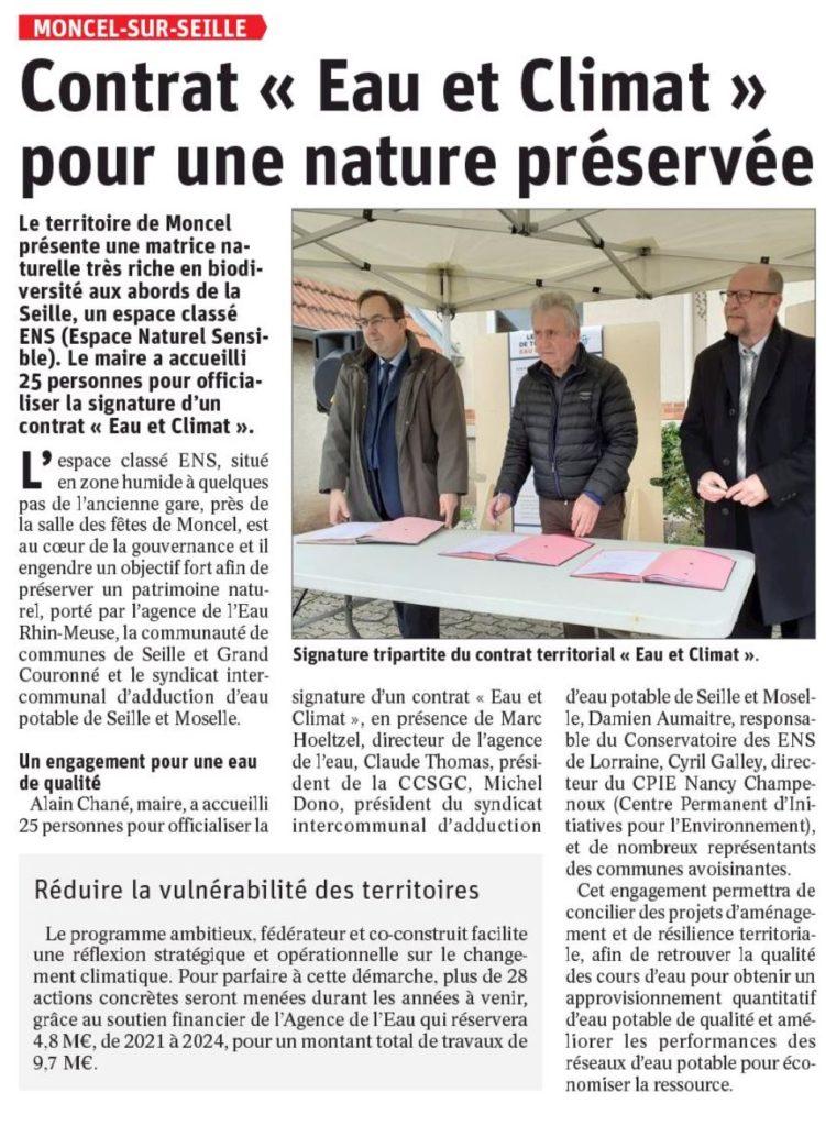Contrat « Eau et Climat » pour une nature préservée